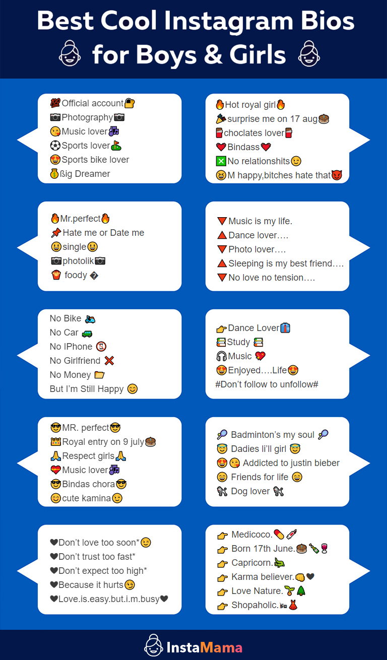 Best Instagram Bios for Boys and Girls Infographic